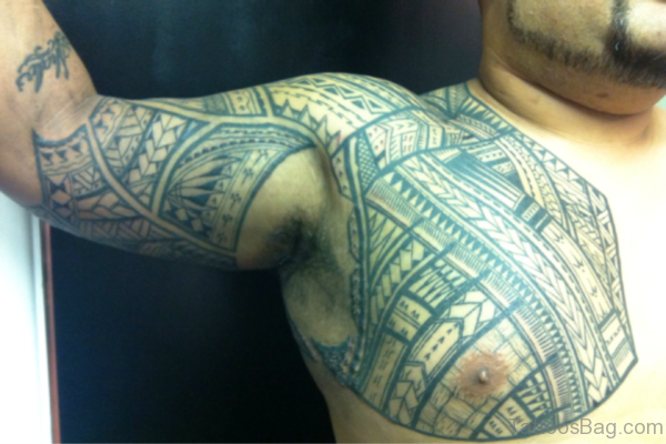 Wonderful Armour Tattoo On Right Shoulder