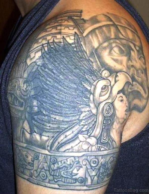 Wonderful Aztec Shoulder Tattoo