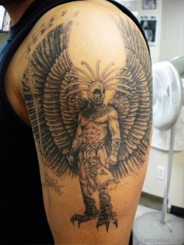 Wonderful Aztec Tattoo On Right Shoulder