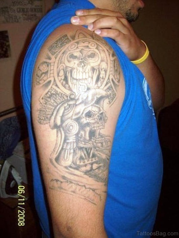 Wonderful Aztec Tattoo On Shoulder