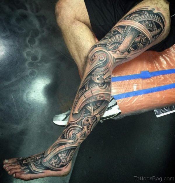 Wonderful Biomechanical Tattoo Design