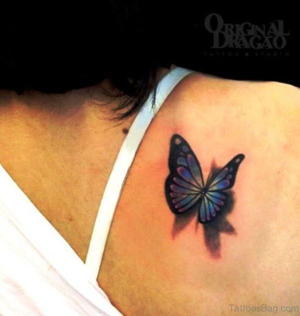 Wonderful Blue Butterfly Tattoo