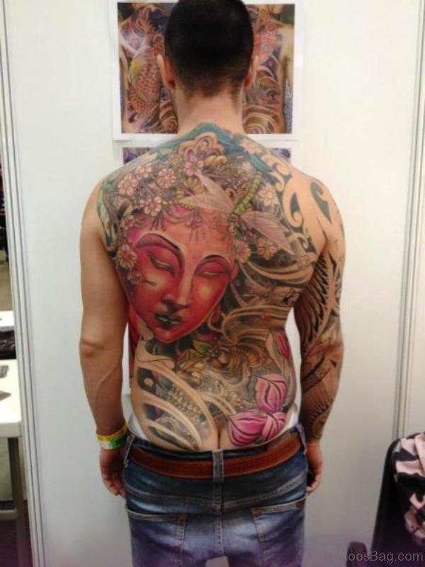 Wonderful Buddha Tattoo On Back