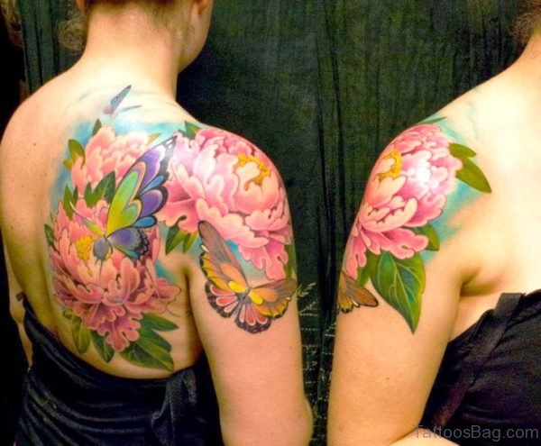 Wonderful Butterfly And Flower Tattoo Design