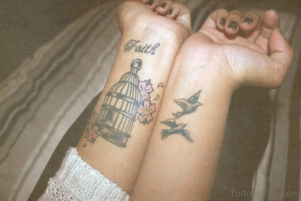 Wonderful Cage And Bird Tattoo