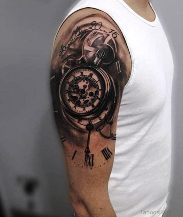 0b3e54e8df636 52 Pretty Clock Tattoos On Shoulder