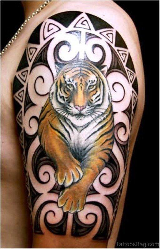 Wonderful Colored Tiger Tattoo