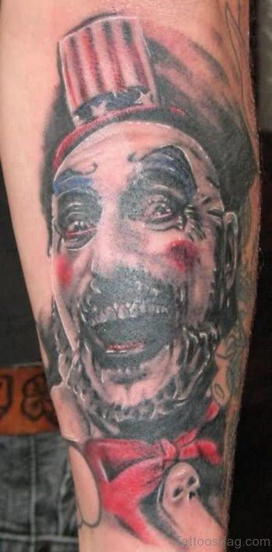 Wonderful Colored Zombie Tattoo On Leg
