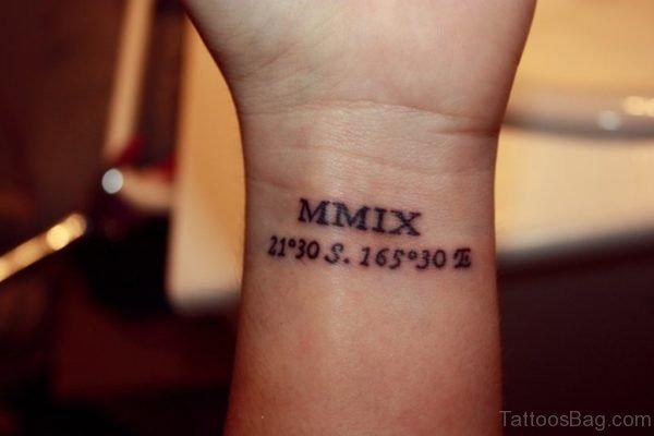 Wonderful Coordinates Tattoo On Wrist