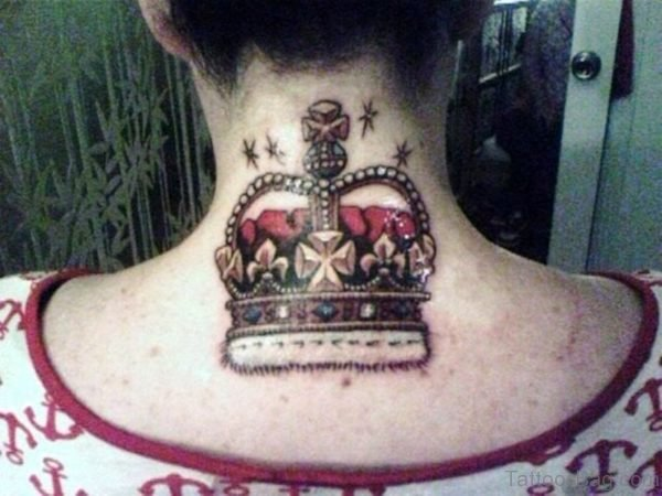 Wonderful Crown Tattoo On Neck