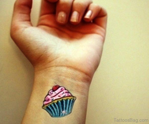 Wonderful Cupcake Wrist Tattoo