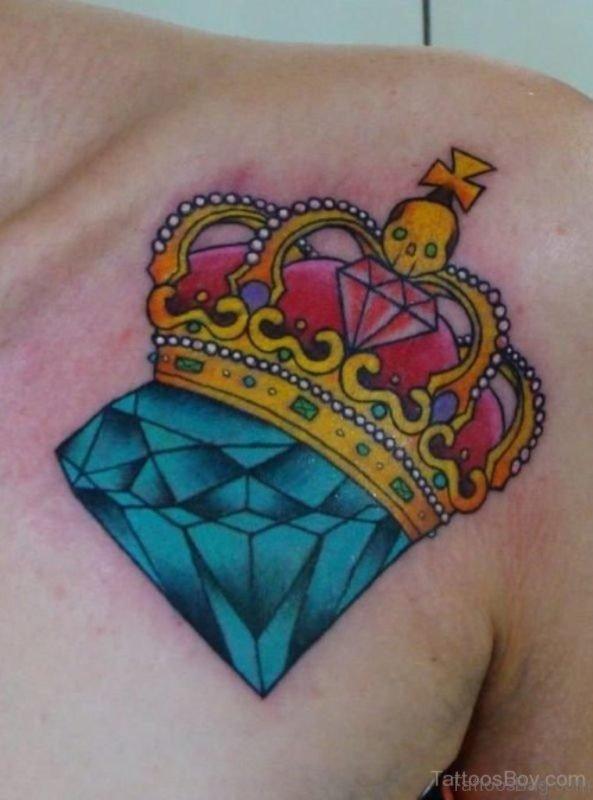 Wonderful Diamond Tattoo On Chest