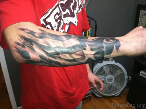 Wonderful Flag Tattoo On Wrist