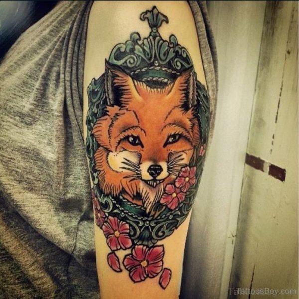 Wonderful Fox Tattoo Design On Shoulder
