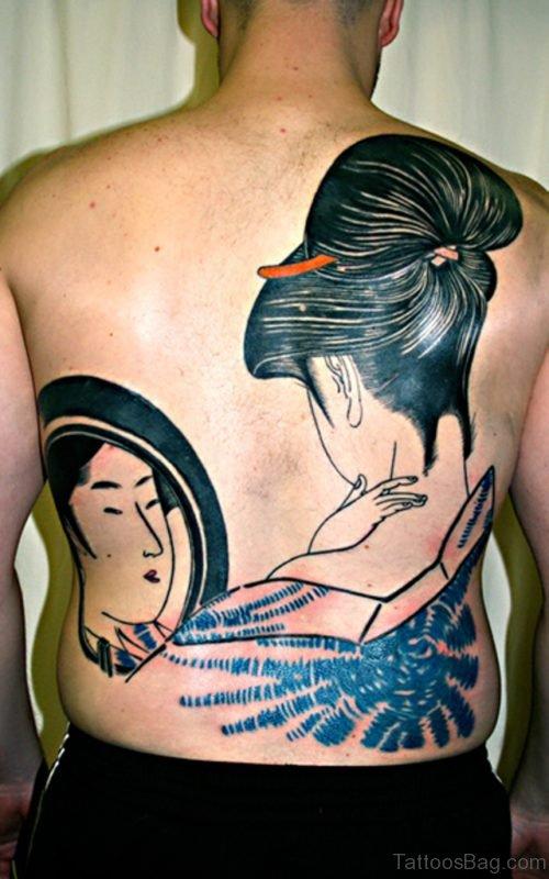 Wonderful Geisha Tattoo Design On Back