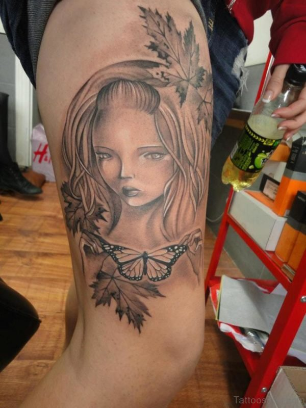 Wonderful Grey Ink Girl Portrait Tattoo on Leg