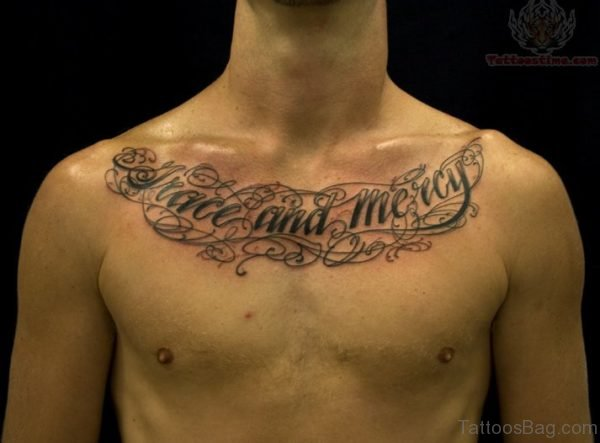 Wonderful Lettering Chest Tattoo