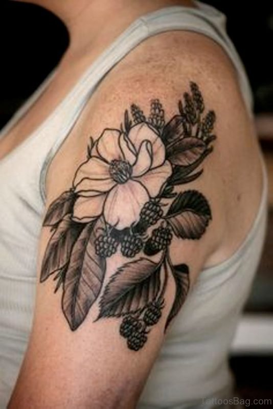 Wonderful Magnolia Tattoo Design