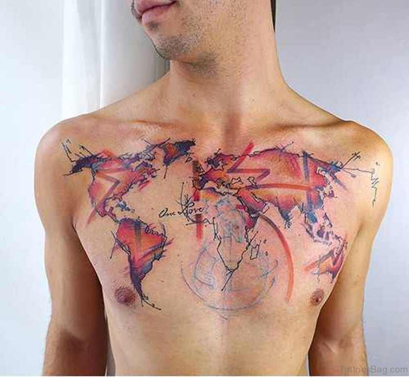 38 stylish map tattoos on chest wonderful map tattoo gumiabroncs Choice Image
