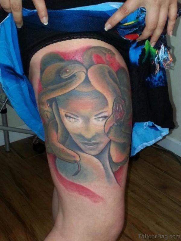 Wonderful Medusa Tattoo On Thigh