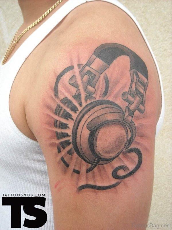 Wonderful Music Tattoo On Left Shoulder