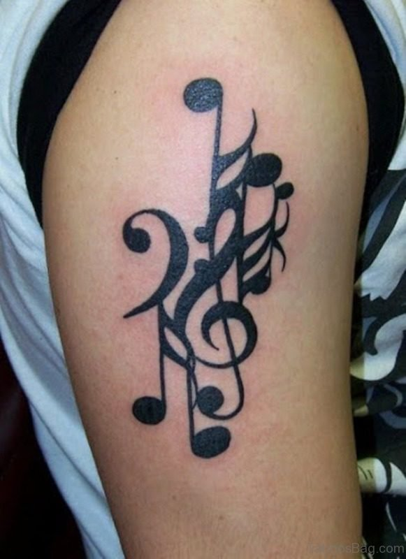 Wonderful Music Tattoo On Right Shoulder