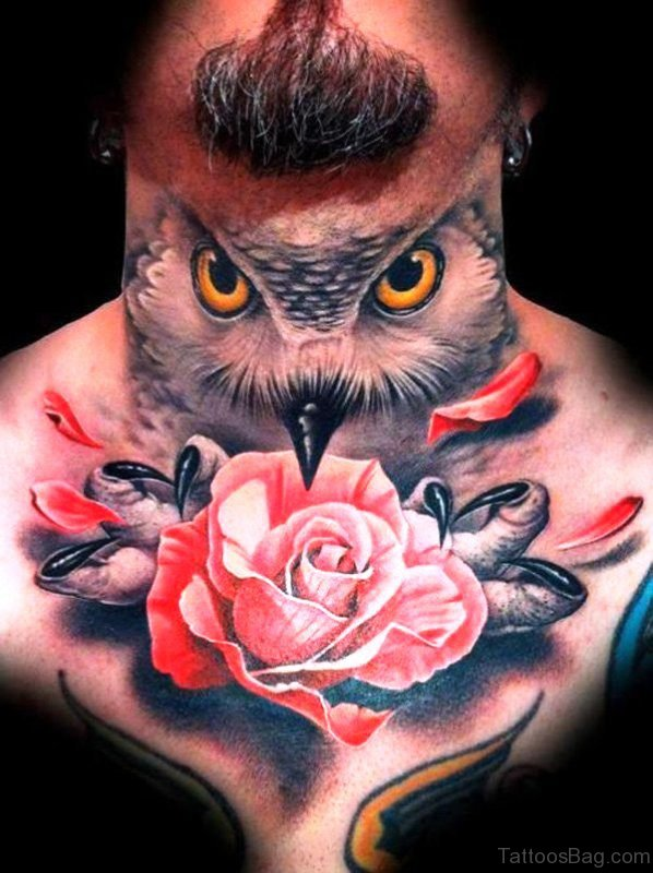 Wonderful Owl Neck Tattoo