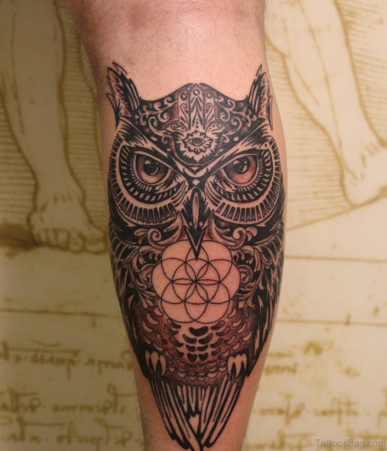 73 elegant owl tattoos on leg. Black Bedroom Furniture Sets. Home Design Ideas