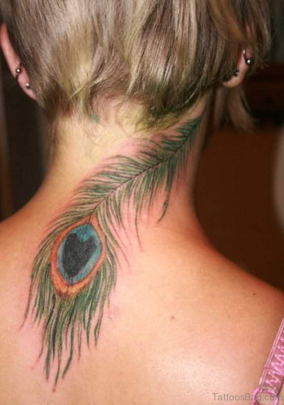 Wonderful Peacock Feather Tattoo On Neck