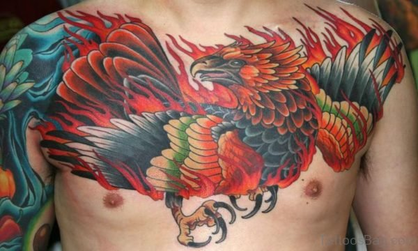 Wonderful Phoenix Tattoo On Chest