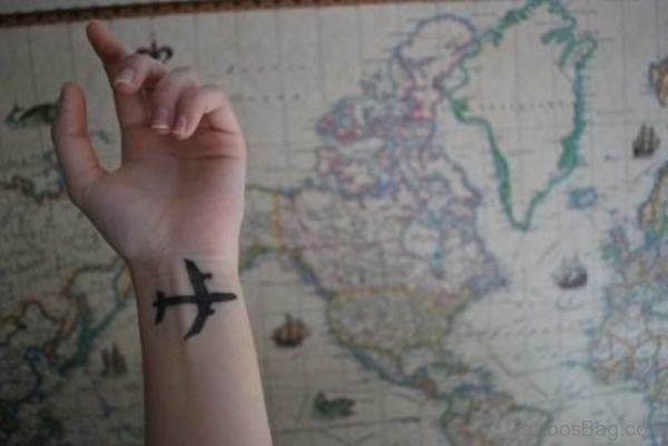 Wonderful Plane Tattoo On Wrist