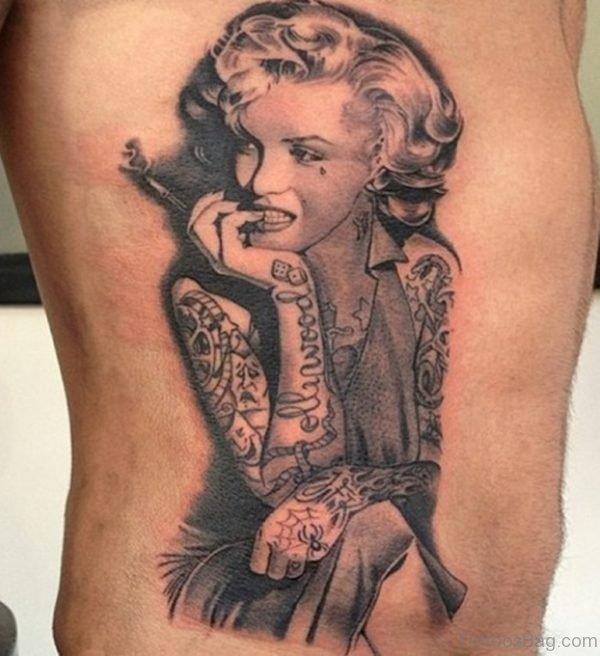 Wonderful Portrait Tattoo On Rib