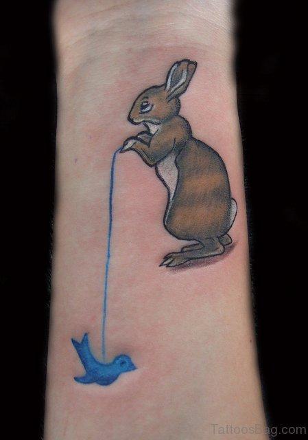 Wonderful Rabbit Tattoo On Wrist