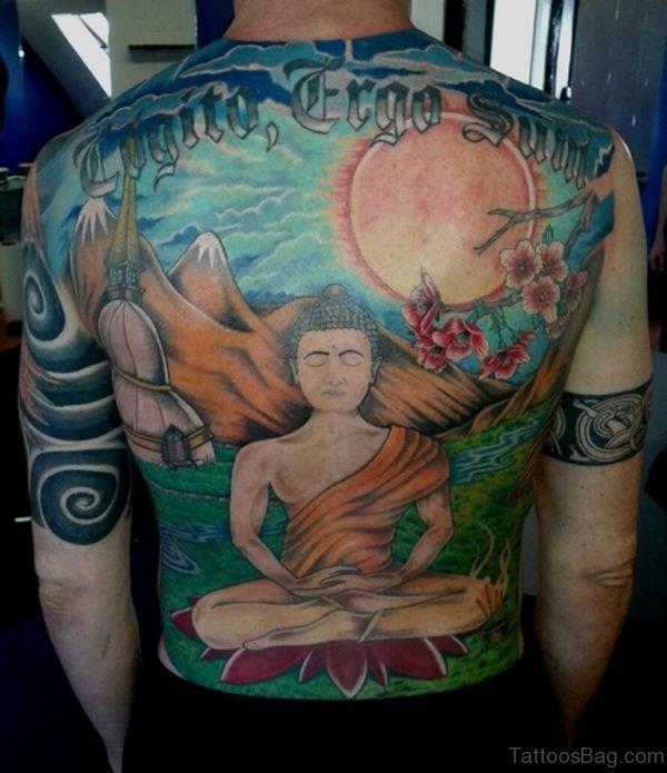 Wonderful Religious Buddha Back Piece Tattoo Design