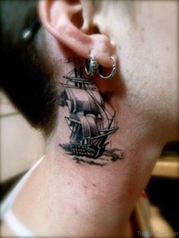 Wonderful Ship Neck Tattoo Design