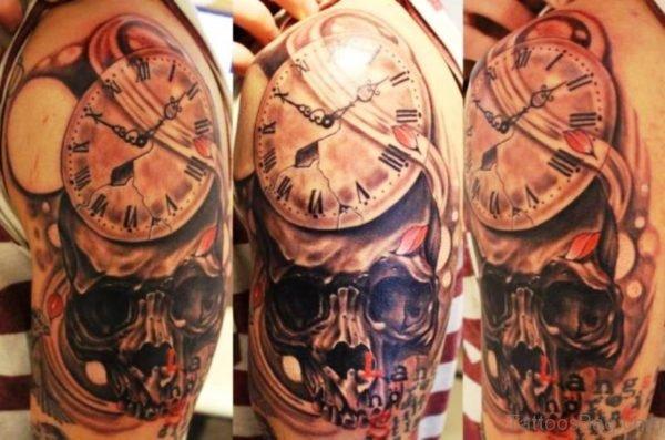Wonderful Skull And Clock Tattoo