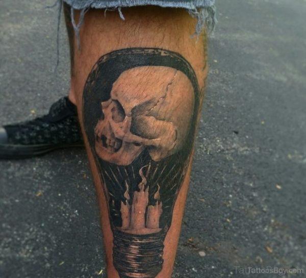 Wonderful Skull Tattoo On Leg