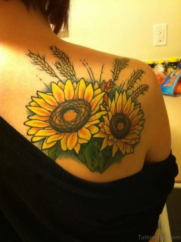 Wonderful Sunflower Tattoo On Back Shoulder