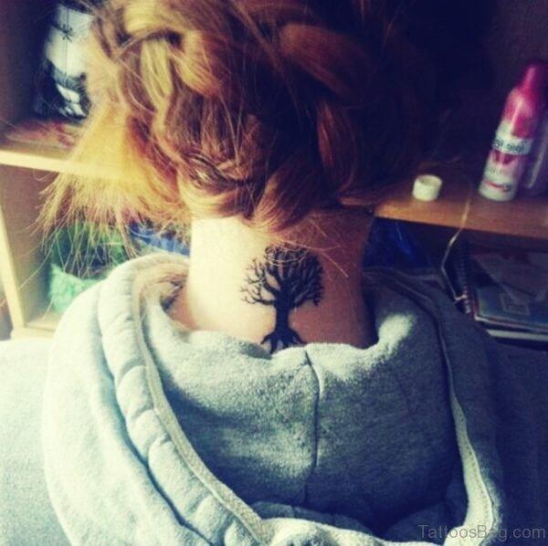 Wonderful Tree Tattoo On Neck