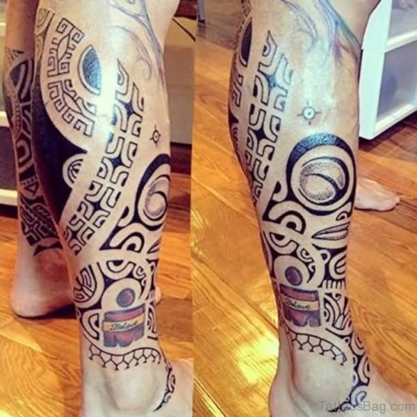 Wonderful Tribal Tattoo Design On Leg