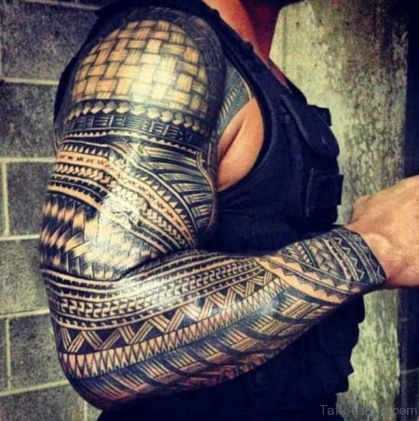 Wonderful Tribal Tattoo On Full Sleeve