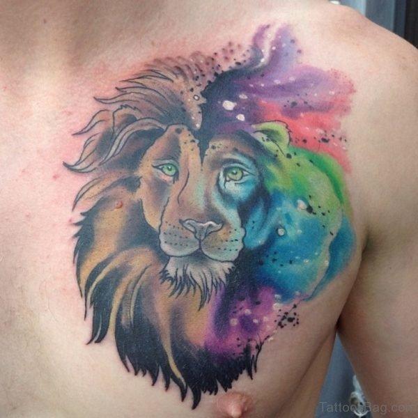 Wonderful Watercolor Lion Tattoo