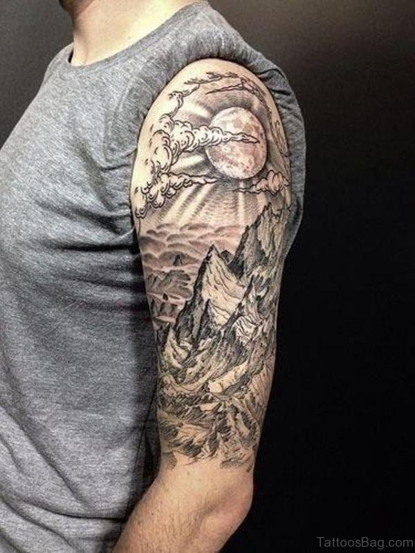 Wonderful Cloud Shoulder Tattoo Design