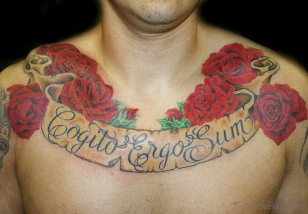 Wonedrful Rose Tattoo On Chest