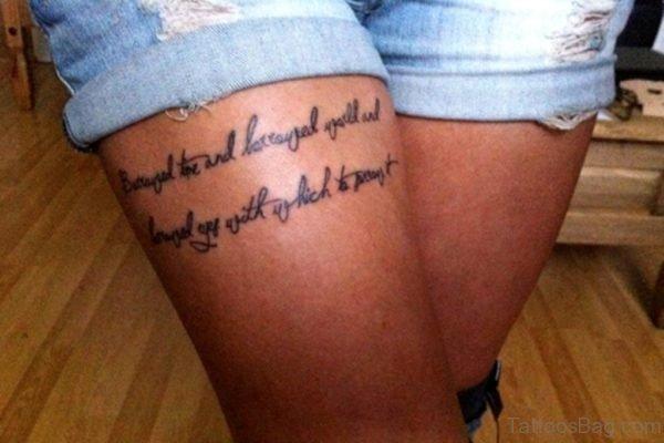 Word Thigh Tattoo