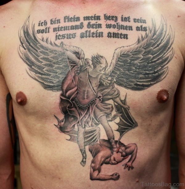 Wording And Angel Wings Tattoo