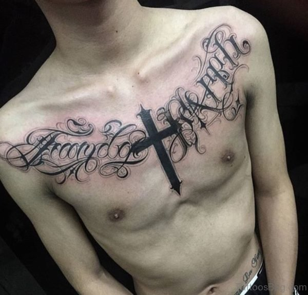 Wording And Balck Cross Tattoo