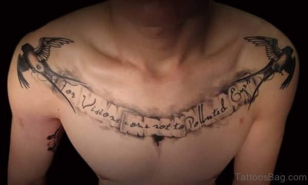 Wording And Bird Tattoo On Chest