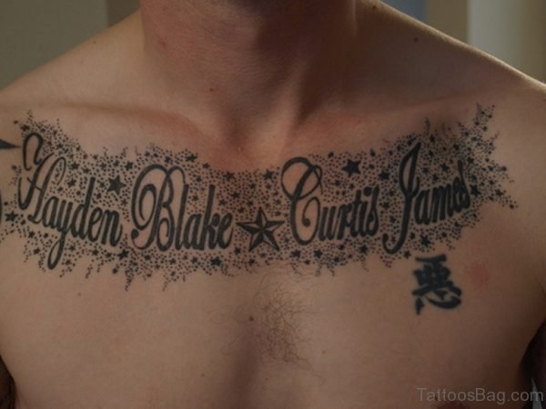 Wording And Black Star Tattoo