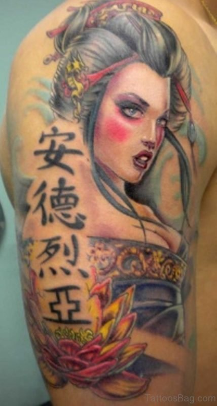 Wording And Geisha Tattoo